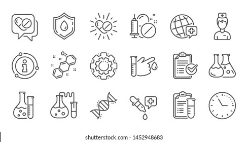 Medical healthcare, doctor line icons. Drug testing, scientific discovery and disease prevention icons. Chemical formula, chemistry testing lab. Linear set. Quality line set. Vector