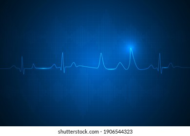 medical and healthcare with heart beat technology abstract technology background.