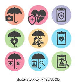 Medical Healthcare  Icons with People Figures and Heart, EKG, and Symbols