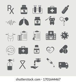 Medical and healthcare icons set vector illustration symbol for website and graphic design