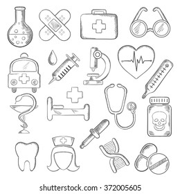 Medical and healthcare icons sketches with hospital and pharmacy signs, nurse, ambulance, first aid box, pills and syringe, stethoscope, heart ecg, tooth and glasses, dna and microscope. Vector