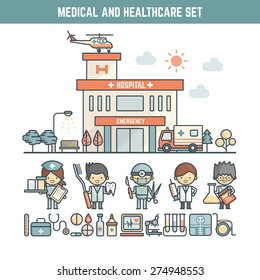 medical and healthcare infographic elements for kid including character and icons