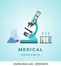 Medical healthcare laboratory research equipment composition poster with microscope tests tubes and vector illustration