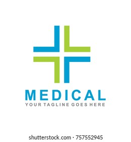 medical and healthcare logo design with cross icon