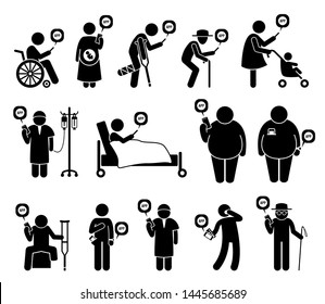 Medical healthcare mobile phone app for people in need. Vector artwork depicts handicapped, pregnant woman, elderly, cancer patient, and blind man using smartphone app.