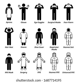 Medical healthcare PPE personal protection equipment gears. Vector artwork of man wearing gloves, eye goggles, face visor shield, hair net, gown,  respirator mask, surgical mask, N95, and hazmat suit.