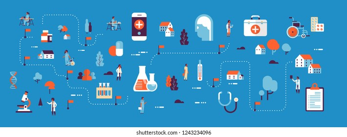 medical healthcare products medicine isometric map concept laboratory equipment doctors and nurses cartoon character horizontal banner blue background flat