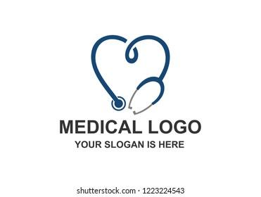 Medical Healthcare Stethoscope Cross Logo