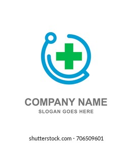 Medical Healthcare Stethoscope Cross Logo