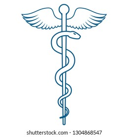 Medical or Healthcare symbol - Staff of Asclepius or Caduceus with wings line art icon isolated on white background. The snake entwined around a wooden staff with wings. Vector illustration