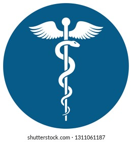Medical or Healthcare symbol - Staff of Asclepius or Caduceus with wings in circle icon isolated on white background. The snake entwined around a wooden staff with wings. Vector illustration
