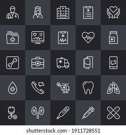 Medical And Healthcare Thin Line Icon Set. Healthcare Icons for Professional Web Design, Mobile App Design, Infographic and so on.