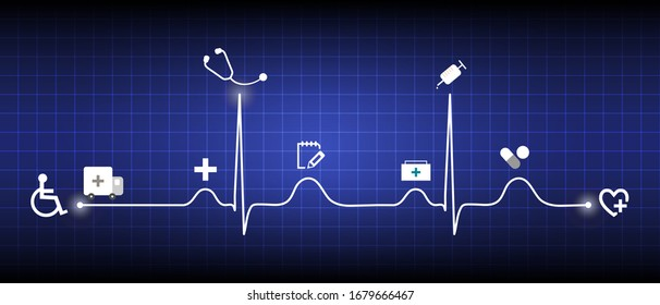 Medical healthcare timeline infographic with medical device icon and normal heart beat line (Sinus rhythm) on blue background.ECG ,EKG graph.Electocardiogram.Vital sign.Life support.