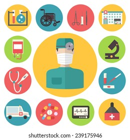 Medical and healthcare vector icons set. Ambulance hospital. Flat design vector.