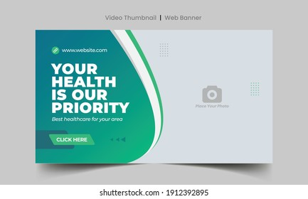 Medical healthcare web banner template and video thumbnail. Editable promotion banner design. Dental hospital clinic social media layout