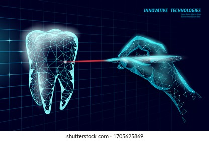 Medical healthy human tooth 3d. Medicine model low poly. Doctor online laser surgery concept. Dentistry web healthcare dentist stomatologist modern technology vector illustration