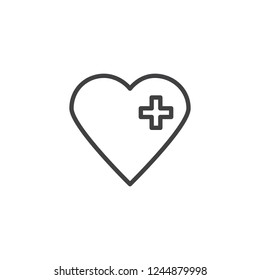 Medical heart outline icon. linear style sign for mobile concept and web design. Heart with medical cross simple line vector icon. Health Care symbol, logo illustration. Pixel perfect vector graphics