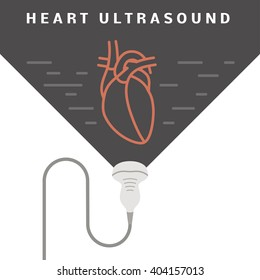 Medical heart ultrasound concept. Sonogram of the human heart in flat style