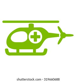 Medical Helicopter vector icon. Style is flat symbol, Eco green color, rounded angles, white background.