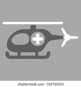 Medical Helicopter vector icon. Style is bicolor flat symbol, dark gray and white colors, rounded angles, silver background.