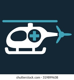 Medical Helicopter vector icon. Style is bicolor flat symbol, blue and white colors, rounded angles, dark blue background.
