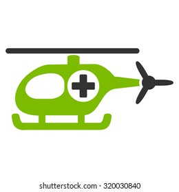 Medical Helicopter vector icon. Style is bicolor flat symbol, eco green and gray colors, rounded angles, white background.