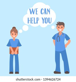Medical help banner vector illustration. Young woman and man doctor smiling and getting ready to help. Nurse or medical assistant with folder. Male character with phonendoscope