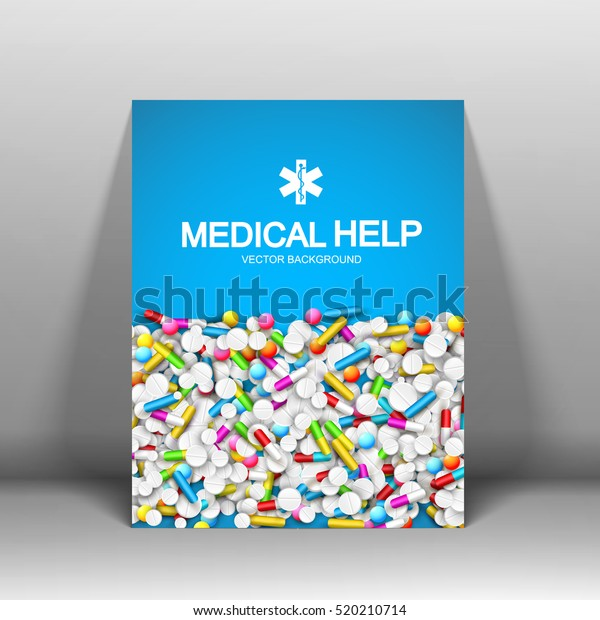 Medical help brochure with pills capsules and light blue background isolated vector illustration