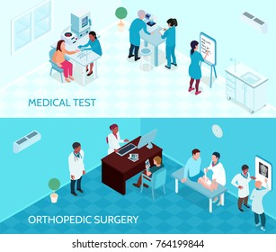 Medical help horizontal banners with doctors and nurses involved in testing and orthopedic surgery isometric vector illustration
