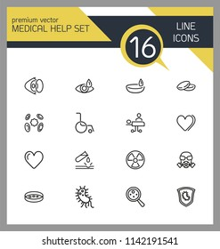Medical help icons. Set of line icons. Laboratory, heart decease, virus. Medicine concept. Vector illustration can be used for topics like decease prevention, medical research, protection.