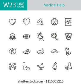 Medical help icons. Set of twenty line icons. Laboratory, heart decease, virus. Medicine concept. Vector illustration can be used for topics like decease prevention, medical research, protection.