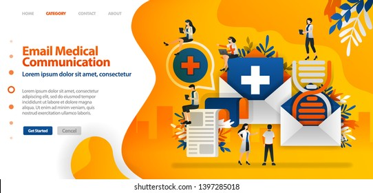 Medical history and DNA are sent by email to facilitate communication between health documents .vector illustration concept can be use for landing page, ui ux, web, mobile app, poster, banner, website