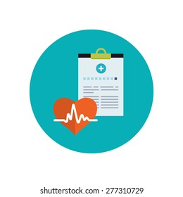 Medical history flat icon. Healthcare system concept.  Vector illustration