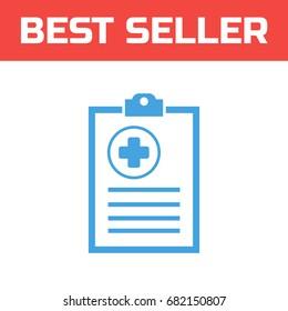 medical history icon . Single high quality outline symbol for web design or mobile app. Thin line sign for design logo. Blue pictogram on white background. Vector illustration.