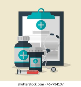 medical history medicine stethoscope tube medical health care icon. Colorfull and flat illustration