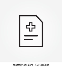 Medical history outline icon. linear style sign for mobile concept and web design. Medical report clipboard simple line vector icon. Diagnose result symbol, logo illustration. Pixel perfect vector
