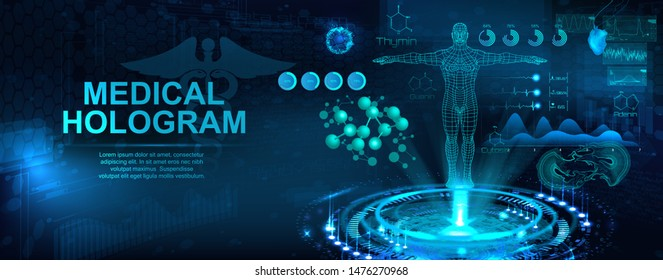 Medical hologram with body, examination in HUD style. Modern healthcare concept. Futuristic examination with hologram human body and health indicators. Sci 3D x-ray. Vector illustration