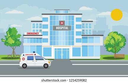 Medical hospital building exterior with city landscape and ambulance car. Vector illustration.