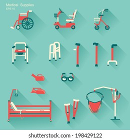 medical hospital equipment for disabled people.Vector flat design icons