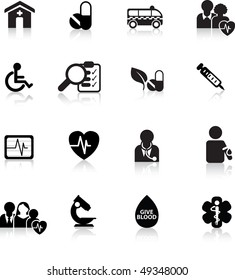 medical and hospital icon and web silhouette buttons
