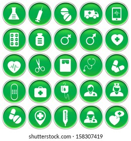 Medical and hospital service on round green icon, vector format