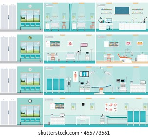 Medical hospital surgery operation room, post-operation ward, laboratory, medical check up interior room,ECG Test or cardiology center room interior, dental care , health care vector illustration.