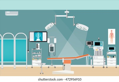 Medical hospital surgery operation room interior at the hospital, health care characters vector illustration.