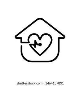 Medical House with Heartbeat Icon