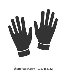 Medical or household gloves glyph icon. Silhouette symbol. Negative space. Vector isolated illustration