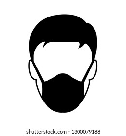 Medical Hygienic Face mask on man for highly Air pollution, Dust hazard protection equipment vector icon isolate on white background.