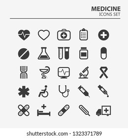Medical icon set. 25 Silhouette hospital vector signs. Medicine design. Web ambulance infographics icons. Illustrator vector design.