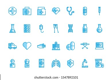 Medical icon set design, Hospital health care emergency aid clinic and medication Vector illustration