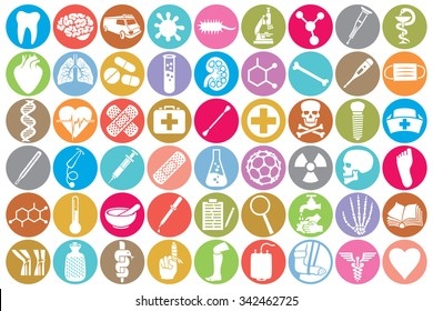 medical icon set (kidney, human lungs, pharmacy snake symbol, first aid sign, skull, tooth, stethoscope, brain, microscope, syringe, DNA strand, heart, first aid, ambulance van)