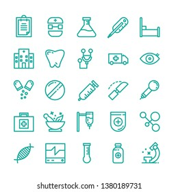 Medical icon set with outline style vector illustration